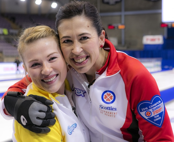 Aunt Jill Officer Team Canada and Neice Kristin MacCuish of Team Manitoba at the 2016 Scotties Tournament of Hearts, the Canadian Womens Curling Championships, Grande Praire, Alberta