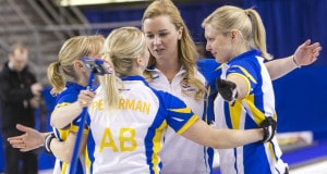 Team Alberta wins in the 1-2 Playoff game vs Canada at the 2016 Scotties Tournament of Hearts, the Canadian Womens Curling Championships, Grande Praire, Alberta