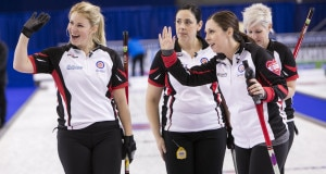 Team Ontario Skip Jenn Hanna, Third Brit O'Neill, Second Steph Hanna, Lead Karen Sagle, in a draw ten win vs Alberta at the 2016 Scotties Tournament of Hearts, the Canadian Womens Curling Championships, Grande Praire, Alberta