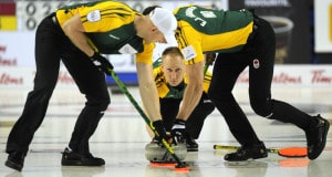 2015, Calgary Ab, Tim Hortons Brier, Northern Ontario skip Brad Jacobs lead Ryan Harnden, second E.J.Harnden, Curling Canada/michael burns photo