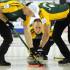 2015, Calgary Ab, Tim Hortons Brier, Northern Ontario skip Brad Jacobs lead Ryan Harnden, second E.J.Harnden, Curling Canada/michael burns photo