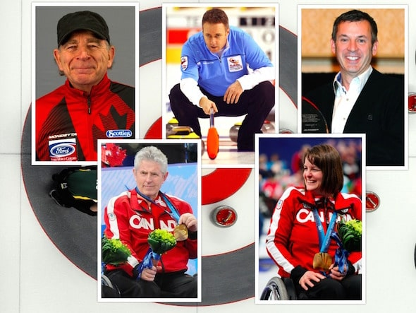 The five newest members of the Canadian Curling Hall of Fame, clockwise from top left, Earle Morris, Pierre Charette, Bob Weeks, Ina Forrest and Darryl Neighbour.