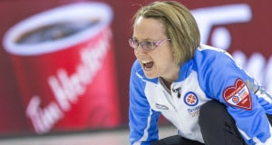 Team Quebec skip Marie-France Larouche call the line in draw four action at the 2016 Scotties Tournament of Hearts, the Canadian Womens Curling Championships, Grande Praire, Alberta