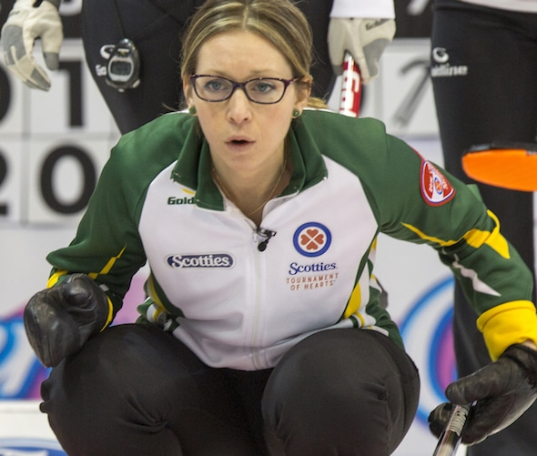 Northern Ontario skip Krista McCarville in draw five action at the 2016 Scotties Tournament of Hearts, the Canadian Womens Curling Championships, Grande Praire, Alberta
