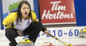 Team Manitoba skip Kerri Einarson call the shot in draw five action at the 2016 Scotties Tournament of Hearts, the Canadian Womens Curling Championships, Grande Praire, Alberta