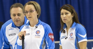 Team Quebec Skip Marie-France Larouche, Third Brenda Nicholls, Coach Pierre Charette in draw six action at the 2016 Scotties Tournament of Hearts, the Canadian Womens Curling Championships, Grande Praire, Alberta