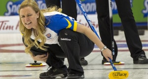 Alberta skip Chelsea Casey call for the weepers in draw six action at the 2016 Scotties Tournament of Hearts, the Canadian Womens Curling Championships, Grande Praire, Alberta
