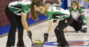 Team Saskatchewan, Lead Ashley Williamson sweeps Skip Jolene Campbell's rock with Second Callan Hamon at the 2016 Scotties Tournament of Hearts, the Canadian Womens Curling Championships, Grande Praire, Alberta