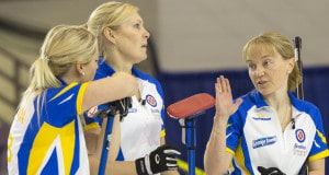 Team Alberta third Amy Nixon explains a shot to second Jocelyn Peterman, lead Laine Peters in draw fourteen action at the 2016 Scotties Tournament of Hearts, the Canadian Womens Curling Championships, Grande Praire, Alberta