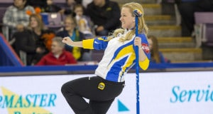 Alberta skip Chelsea Carey in draw sixteen action at the 2016 Scotties Tournament of Hearts, the Canadian Womens Curling Championships, Grande Praire, Alberta