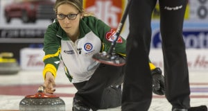 Northern Ontario skip Krista McCarville in the 3/4 playoff game at the 2016 Scotties Tournament of Hearts, the Canadian Womens Curling Championships, Grande Praire, Alberta
