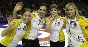 Team Manitoba, skip Jennifer Jones, third Kaitlyn Lawes, second Jill Officer, lead Dawn McEwen, after winning the  the 2015 Scotties Tournament of Hearts, the Canadian Womens Curling Championships, Moose Jaw, Saskatchewan