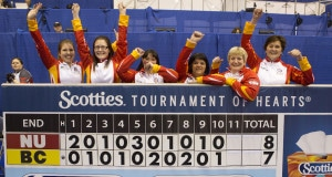 Team Nunavit wins it opening qualifiyer against Team BC. From left to right. Alternate, lead Jenine Bodner, second Robyn Mackey, skip, Geneva Chislett, third Denise Hutchings and coach Donalda Mattie at the 2016 Scotties Tournament of Hearts, the Canadian Womens Curling Championships, Grande Praire, Alberta