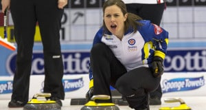 BC skip Karla Thompson at the 2016 Scotties Tournament of Hearts, the Canadian Womens Curling Championships, Grande Praire, Alberta