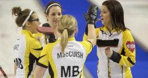 Team Manitoba Manitoba Skip:Kerri Einarson Third:Selena Kaatz Second:Liz Fyfe Lead:Kristin MacCuish in draw two action at the 2016 Scotties Tournament of Hearts, the Canadian Womens Curling Championships, Grande Praire, Alberta