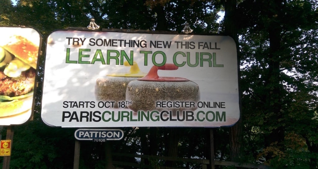 The Paris Curling Club's billboard attracted 66 new curlers to the first night of the Learn To Curl program (Photo by Mark Stouffer)