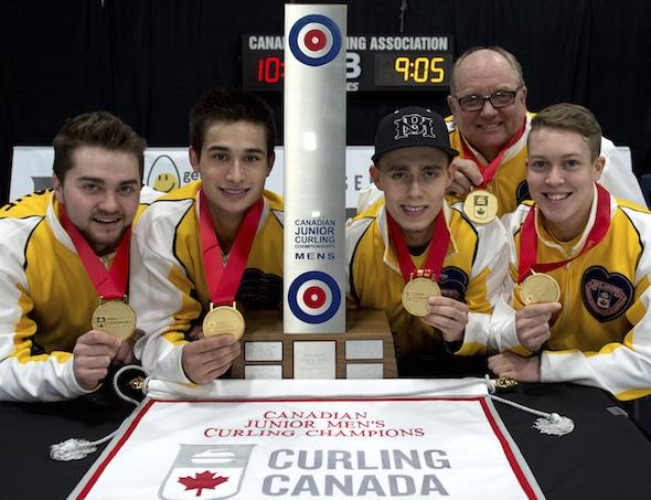Stratford Ont.Jan 31 2016.Canadian Junior Curling Championship.Manitoba skip Matt Dunstone,third Colton Lott, second Kyle Doering, lead Rob Gordon, coach Calvin Edie, Curling Canada/ michael burns photo