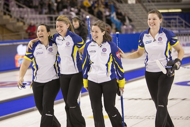 Team BC, Skip:Karla Thompson Third:Kristen Recksiedler Second:Tracey Lavery Lead:Trysta Vandale in a big win at the 2016 Scotties Tournament of Hearts, the Canadian Womens Curling Championships, Grande Praire, Alberta