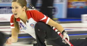 Team Canada third Kaitlyn Lawes in draw thirteen action at the 2016 Scotties Tournament of Hearts, the Canadian Womens Curling Championships, Grande Praire, Alberta