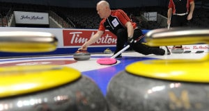 London Ont.Mar4_2011.Tim Hortons Brier.Ontario skip Glenn Howard of Coldwater Ont,delivers his stone during his morning practise,tuning up for the Brier.Howard will participate in his 13th Brier. michael burns photo