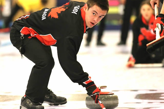 Team Canada third Tyler Tardi in action at the 2016 Youth Olympic Games in Lillehammer, Norway (WCF/Richard Gray photo)