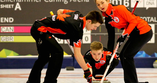 Sweepers Tyler Tardi and Karlee Burgess take charge of Sterling Middleton's rock on the way to a 4-2 win over Great Britain at the 2016 Youth Olympic Games (WCF/Richard Gray photo)