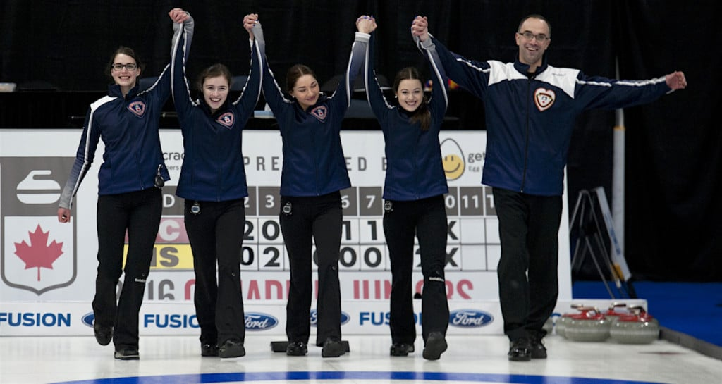 Stratford Ont.Jan 31 2016.Canadian Junior Curling Championship.Nova Scotia skip Mary Fay,,third Kristin Clarke, second Karlee Burgess, lead Janique LeBlanc, coach Andrew Atherton, Curling Canada/ michael burns photo
