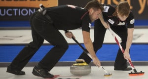 2015 World Financial Group Continental Cup Curling, Calgary AB, Mike McEwen, Dawn McEwen, CCA/michael burns photo