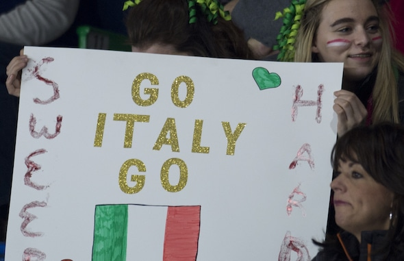 Swift Current Sk, March 22, 2016.Ford World Woman's Curling Championship.Italy Fans, Curling Canada/ michael burns photo