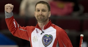 Ottawa Ont.Mar 5, 2016.Tim Hortons Brier.NL skip Brad Gushue reacts after defeating Manitoba's Mike McEwen in an extra end 5-4 in draw 1 of the Brier. michael burns photo