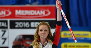 Swift Current Sk, March 19, 2016.Ford World Woman's Curling Championship.Canada skip Chelsea Carey of Calgary Ab, raises her brush after guiding Canada to an 8-7 extra end victory over Denmark. michael burns photo