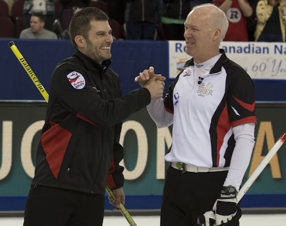 Ottawa Ont.Mar 10, 2016.Tim Hortons. Craig Savill, Ontario skip Glenn Howard.Curling Canada/ michael burns photo