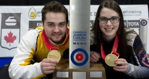 Stratford Ont.Jan 31 2016.Canadian Junior Curling Championship.Manitoba skip Matt Dunstone, Nova Scotia skip Mary Fay, Curling Canada/michael burns photo