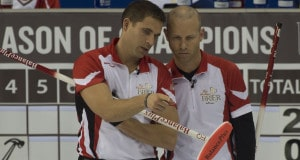 Ottawa Ont.Mar 8, 2016.Tim Hortons Brier.Team Canada third John Morris (L) , skip Pat Simmons, (R), Curling Canada/ michael burns photo