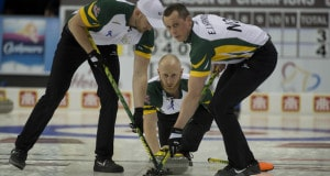Ottawa Ont.Mar 8, 2016.Tim Hortons Brier.Northern Ontario skip Brad Jacobs,lead Ryan Harnden, second E.J.Harnden,Curling Canada/ michael burns photo