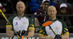 Ottawa Ont.Mar 13, 2016.Tim Hortons Brier.N.Ontario skip Brad Jacobs, (L), third Ryan Fry, Curling Canada/ michael burns photo