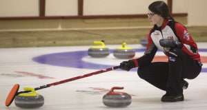 Team Canada skip Mary Fay holds the broom during action at the 2016 World Junior Curling Championships in Taarnby, Denmark (WCF/Richard Gray photo)