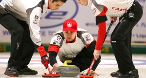 Team Canada skip Matt Dunstone delivers his stone during round robin action on Day 2 of the 2016 World Junior Curling Championships in Taarnby, Denmark (WCF/Richard Gray photo)
