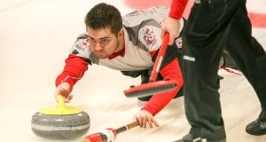 Team Canada skip Matt Dunstone delivers his rock during Day 4 action at the 2016 World Junior Curling Championships in Taarnby, Denmark (WCF/Richard Gray photo)