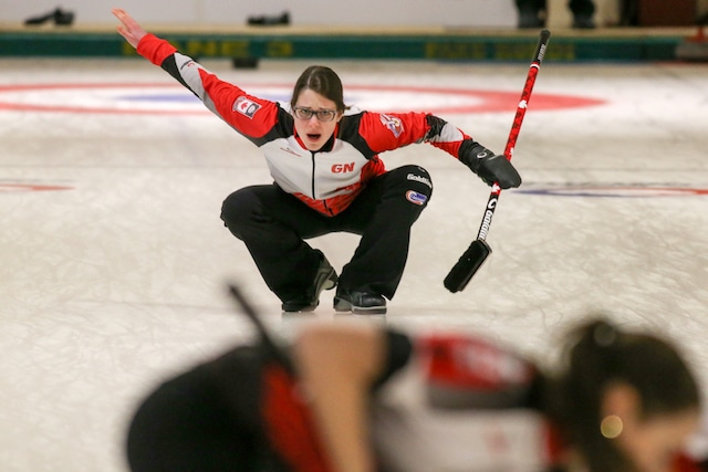Team Canada skip Mary Fay calls off her sweepers during action at the 2016 World Junior Curling Championships in Taarnby, Denmark (WCF/Richard Gray photo)