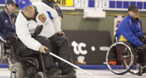 B.C. skip Frank Labounty is taking aim at his fifth Canadian wheelchair curling championship. (Photo, Curling Canada/Dugraff Photographe)