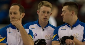 Brent Laing, Marc Kennedy and Ben Hebert of Team Alberta. (Photo, Curling Canada/Michael Burns Photo)
