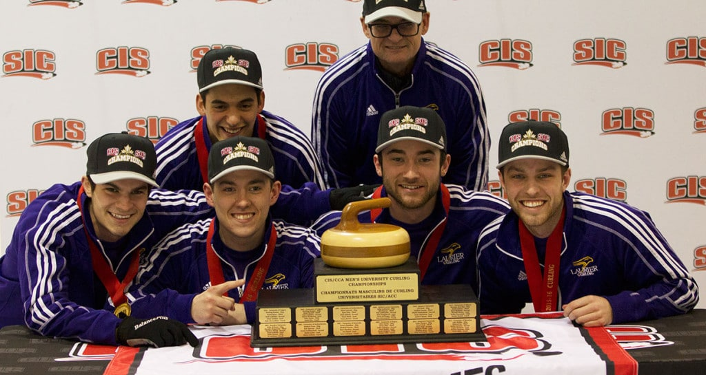 Wilfrid Laurier Golden Hawks Aaron Squires, Richard Krell, Spencer Nuttall, Fraser Reid (back) Russell Cuddie, Glenn Paulley (photo by Ken Reid)