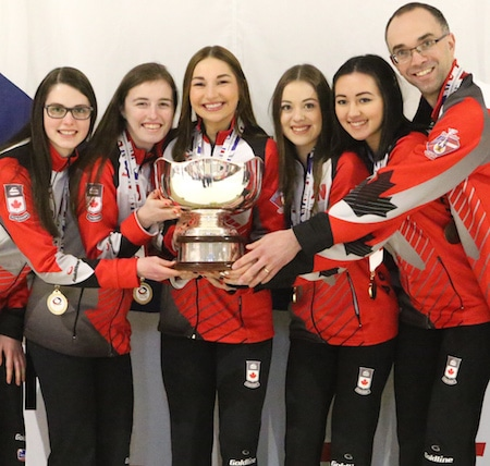 2016 VoIP World Junior Women's champs, from left, Mary Fay, Kristin Clarke, Karlee Burgess, Janique LeBlanc, Sarah Daniels, Andrew Atherton. (Photo, World Curling Federation/Richard Gray)