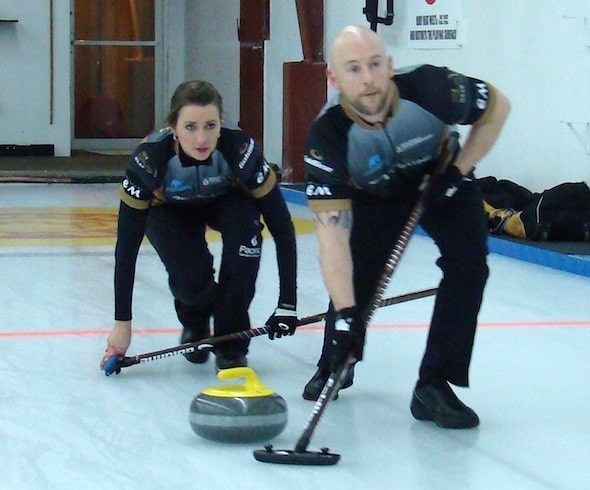 Ryan Fry and Emma Miskew secured their berth in the quarter-finals with a win Saturday night at the 2016 Canadian Mixed Doubles Championship. (Photo, Curling Canada/Darlene Danyliw)