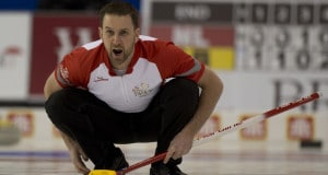 Brad Gushue in action at the 2016 Tim Hortons Brier in Ottawa (Curling Canada/Michael Burns photo)