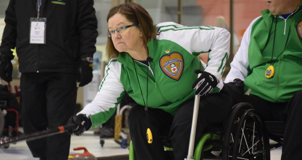 Saskatchewan third Marie Wright in action at the 2016 Canadian Wheelchair Curling Championship in Regina (Curling Canada/Morgan Daw photo)