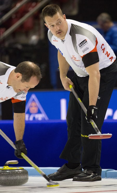 Brent Laing, left, and Ben Hebert. (Photo, World Curling Federation/Céline Stuckli)
