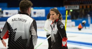Marliese Kasner and Dustin Kalthoff are all smiles after clinching a playoff spot at the 2016 World Mixed Doubles Curling Championship in Karlstad, Sweden (WCF/Hamish Irvine photo)