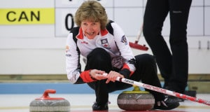 Team Canada skip Terri Loblaw calls to her sweepers during Tuesday's action at the World Senior Curling Championships in Karlstad, Sweden (WCF/Céline Stucki photo)